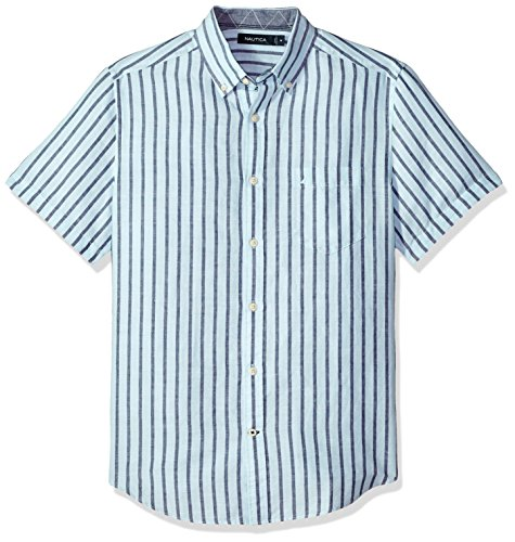 Nautica Men's Short Sleeve Classic Fit Striped Linen Button Down Shirt, Harbor Mist, X-Small