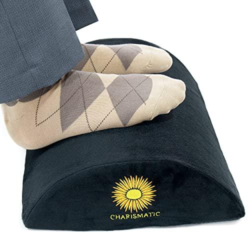 Charismatic Under Desk Footrest - Ergonomic Memory Foam Foot Rest for Home Office - Supportive Non-Slip Foot Stool for Improved Posture, Knee, Back Pain - Soft Comfortable Computer Desk Rocker Pillow