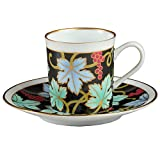 ナカヤマ 白磁 黒地葡萄紋スモールコーヒー碗皿