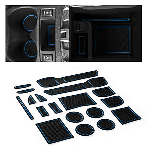 CupHolderHero for Nissan Rogue 2014-2017 Custom Liner Accessories - Premium Cup Holder, Console, and Door Pocket Inserts 16-pc Set (Blue Trim)