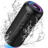 Portable Bluetooth Speaker,Torteco E8-L Wireless Speaker,Bass up,Gradient Light,IPX65 Waterproof, 20Hrs Playtime, Wireless Stereo Dual Pairing,Speaker with Light for Home,Outdoors,Beach Travel,Black
