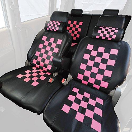 Z-style ラパン H22S 専用 シートカバー ピンクマニアチェック ブラック×ピンク ZZ20-CH03