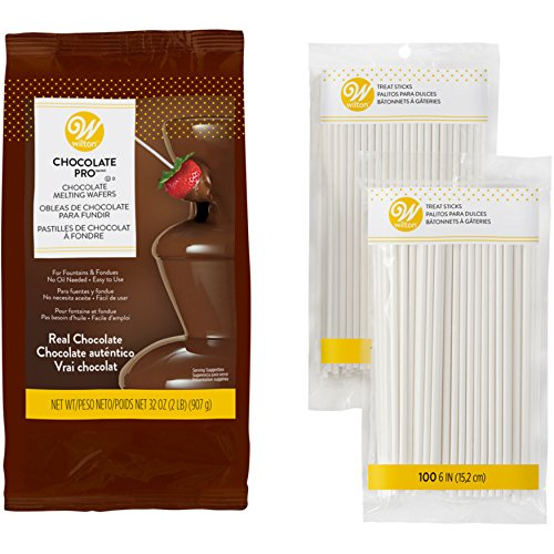 Wilton Chocolate Pro Melting Wafers for Dessert Fountain and Fondue with Lollipop Sticks, 3-Piece Set