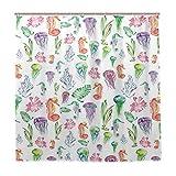 JOOCAR Design Duschvorhang, Muster mit bunten Seepferdchen, Quallen & Algen Algen, lustiges, fröhliches Design, wasserdichter Stoff, Badezimmer-Dekor-Set mit Haken