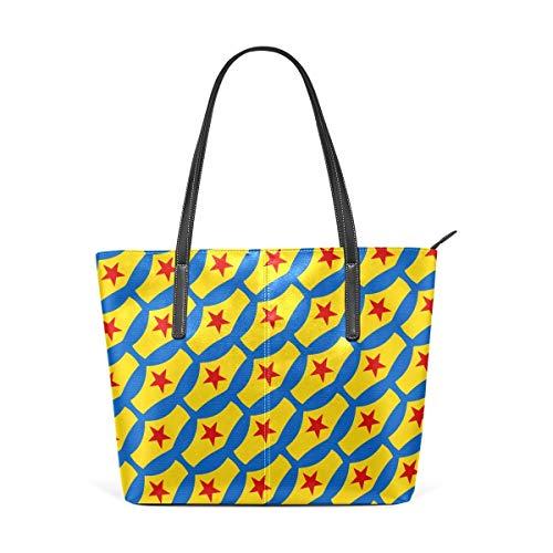 BAODANLA Borse a spalla da donna Women's Soft Leather Tote Shoulder Bag Stars Print Purse PU Leather Shoulder Tote Bag Purse for Womens Girls Ladies