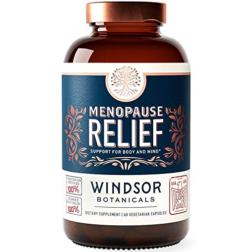 Menopause Relief Supplement for Women - Support for Hot Flushes, Sweats, Mood, and Insomnia - Windsor Botanicals Estrogen Balance Multivitamin, Mineral, and Naturals Formula - 60 Vegetarian Capsules