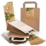 Logbuch-Verlag - Bolsas de regalo (10 unidades, papel, con pegatinas), color rojo, verde y marrón