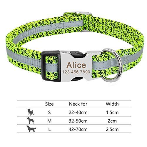 collar perro pequeño Collar de perro Cuello Personalizado PET grabado ID de etiqueta Placa de identificación reflexiva para pequeños perros grandes PITBULL PUG ( Color : 095 Green , Size : S )