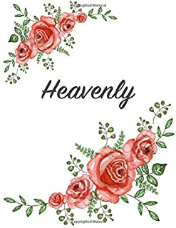 Heavenly: Personalized Composition Notebook – Vintage Floral Pattern (Red Rose Blooms). College Ruled (Lined) Journal for School Notes, Diary, Journaling. Flowers Watercolor Art with Your Name