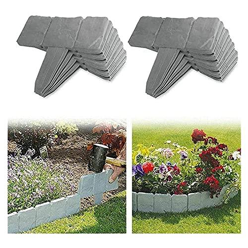 Lalagou - Bordes de jardín con aspecto de piedra, bordes de césped de jardín de plástico, valla de jardín, para vallas de jardín y césped (lote de 40, grandes)