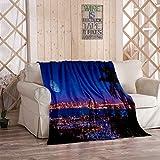 Kuidf USA Couvre-lit en flanelle San Diego California Night Large Moon The Horizon Yachts Couverture en flanelle Bleu marine 60 x 80 cm