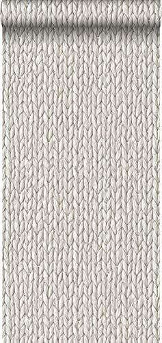 papel pintado pintura de tiza con textura eco mimbre tejido gris claro cálido - 148698 - de ESTAhome.nl