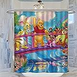 Trelemek Cortina de ducha de 183 x 183 cm con Winnie The Pooh Tiger Piglet Owl Rabbit RooPattern, cortina de baño impermeable con 12 ganchos de plástico lavables