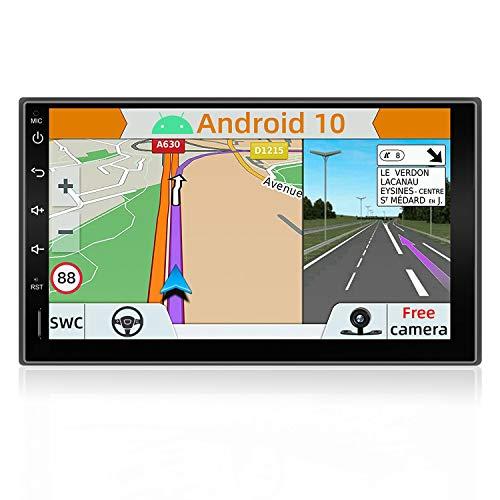 YUNTX Android 10 Doppio Din Autoradio - GPS 2 Din - Telecamera Posteriore Gratuiti - 7 Pollice - Supporto DAB + Controllo del volante 4G WiFi Bluetooth Mirrorlink Carplay USB SD