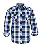 Coevals Club Men's Western Button Down Plaid Long Sleeve Casual Shirt with Pearl Snap (Black & Blue #19, XL)
