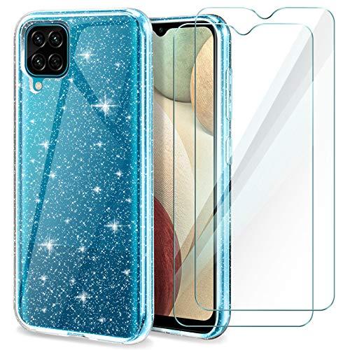 Yirsur - Cover compatibile con Samsung Galaxy A12, in silicone trasparente, con 2 pellicole protettive in vetro temperato