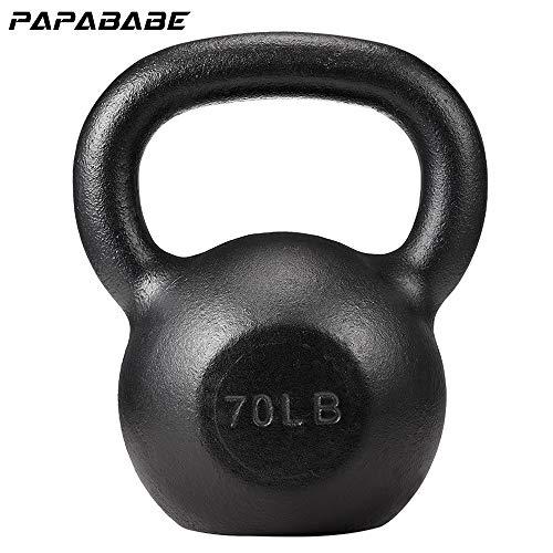 PAPABABE Kettlebell Weights Cast Iron Kettlebell Weight Set Hand Weights Man Women Homge Gym Weight Ball Kettle Bells Deadlift Squat (70LB)