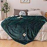 LZLXX Flanell Fleece Decke, Super Soft Warm Sofa/Bett Bettwäsche Blatt Plaid Tagesdecke Decken@Grün_150 * 200 cm