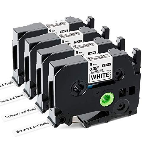 Nastro per Etichette Markurlife Compatibile In sostituzione di Brother P-Touch TZe221 TZ-221 9mm Nero su Bianco,TZ Tape per Etichettatrice Brother PT-H100R 1000 H100LB H105 D400 CUBE,4 Pz
