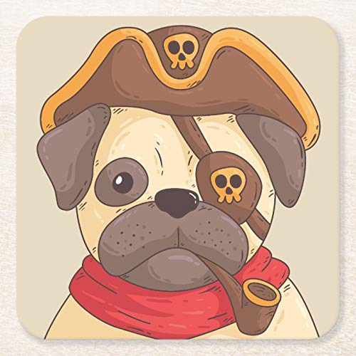 Set Of 6 Coasters for Drinks Wood Absorbent Drink Coaster Trendy Cute Dog Funny Cool Pirate Brown Pet Tabletop Furniture Protection Decorations for Home Kitchen Bar Housewarming Gifts 6 Piece