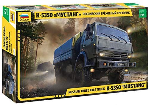 Zvezda Kamaz 5350 - Maqueta de maqueta de plástico Mustang para Principiantes, sin barnizar