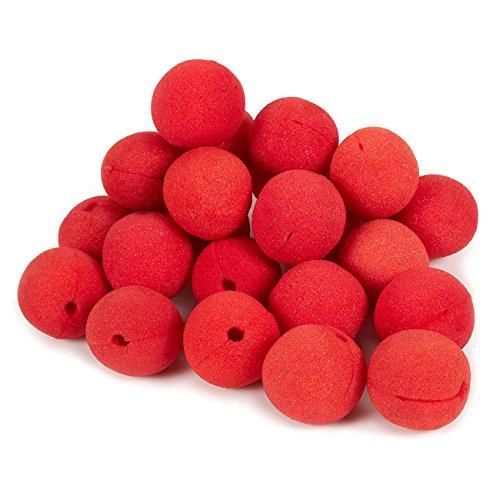 Juvale Clownnesen - accessoires voor verjaardagen met betrekking tot circus, rode schuimneus, carnavalparty-pak, rood - 2 x 2 x 2 inch