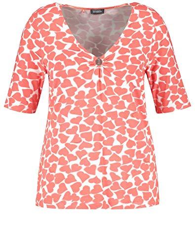 Samoon Damen T-Shirt mit Herz-Print Oeko-Tex Standard 100 figurumspielend Fusion Coral Gemustert 50