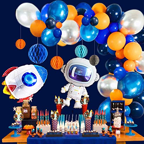 92 Pack Outer Space Balloon Arch Garland - Metallic Blue Silver balloons Navy Blue Orange Balloons and Mylar Astronaut Rocket Balloons 5pcs Honeycomb Ball for Kids Birthday Baby Party Decorations