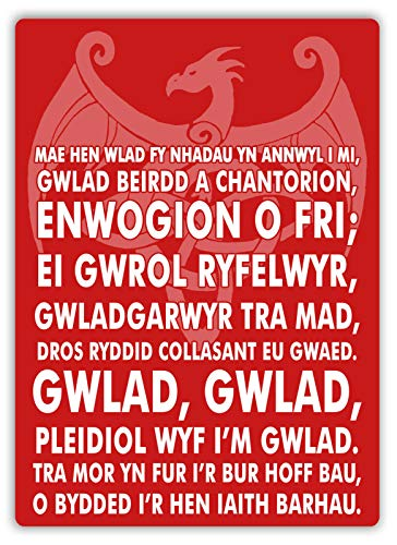 Welsh National Anthem Blechschild Retro Blech Metall Schilder Poster Deko Vintage Kunst Türschilder Schild Warnung Hof Garten Cafe Toilette Club Geschenk