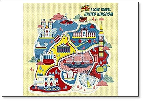 Aimant de réfrigérateur carte du Royaume-Uni Attractions
