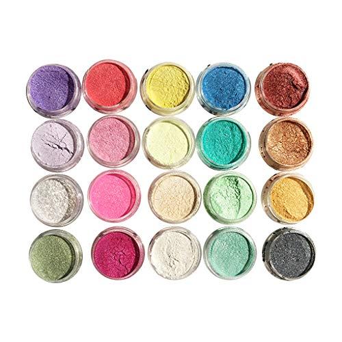Epoxidharz Farbe Mica Pulver, 20 Stk Seifenfarbe Set Pigmente Pulver, Metallic Farben Schimmern Sie Glitter Powder, Farbpulver Für Seifen Slime Malerei Kosmetik DIY