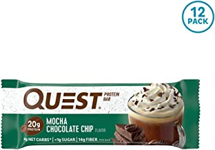 Quest Nutrition Mocha Chocolate Chip Protein Bar, High Protein, Low Carb, Gluten Free, Keto Friendly, 12 Count