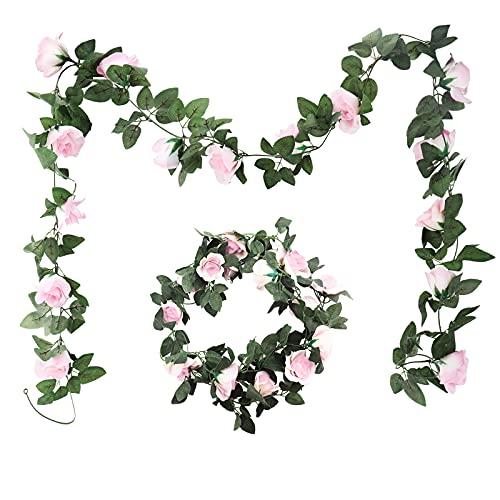 Guirnalda Rosas de Seda 2 Piezas Artificiales Vides Flores Falsas Plantas Rosa para la Decoración de Jardín Boda Hotel…