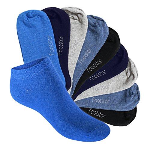 Footstar Kinder Sneaker Socken (10 Paar) - Sneak it! - Jeanstöne 35-38