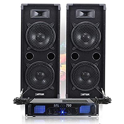 Pair of Max Double 8 Inch PA Speakers with Amplifier and Cables 1600W
