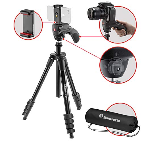 Manfrotto MKSCOMPACTACNBK Compact Action Smart Tripod with Hybrid Head and Smartphone Clamp for iPhone, Samsung, Huawei, LG, Google Phones, DSLR, CSC Mirrorless - Aluminium - Black