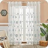MRTREES Voile Gardinen halbtransparent Vorhang kurz im Blumen Stickerei Modernen Wohnstil Sheer Vorhänge Seeblau 245×140cm (H × B) für Wohnzimmer Schlafzimmer Kinderzimmer 2er- Set