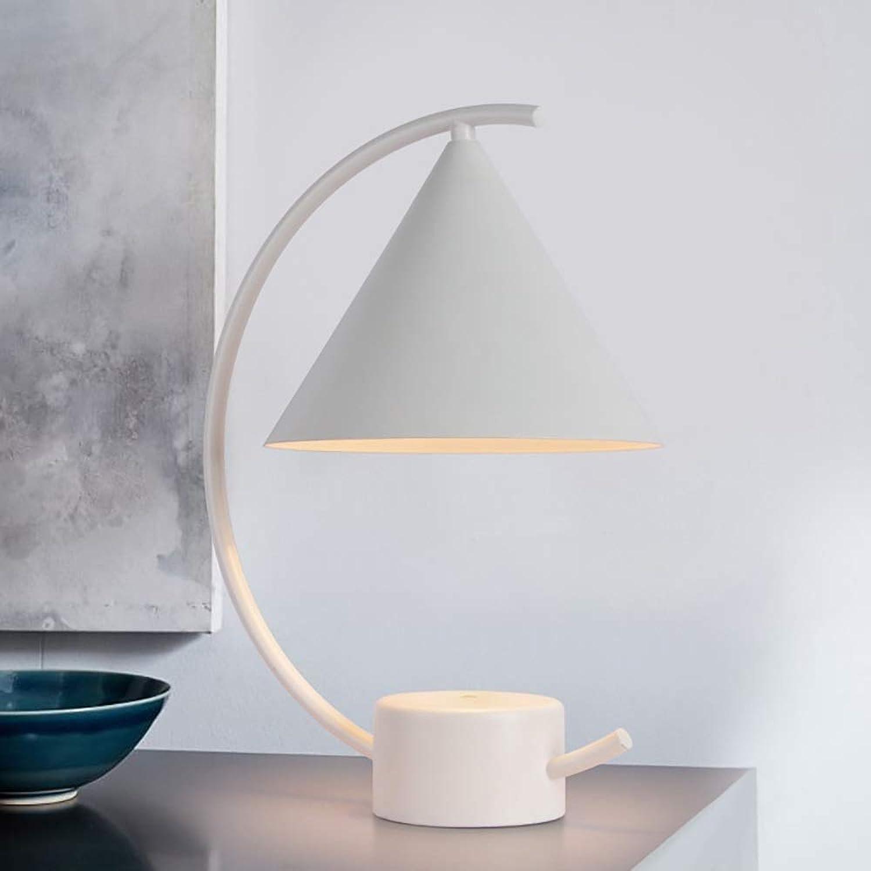 Weich Kreative moderne einfache LED wei schwarz Metall E27 110V-220V Tischlampe Nachtlicht Komfortabel (Farbe   Weiß-A)