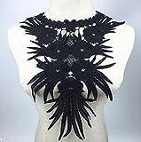 yulakes cuello de encaje–Collar cuello decorar para vestido DIY Handwork talla única negro