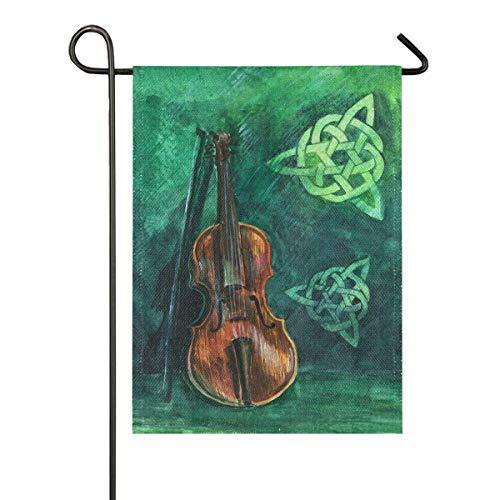 LL-Shop Vintage irische Geige mit Fiddlestick Sackleinen Garten Flagge doppelseitig, Haus Hof Flaggen, Urlaub saisonale Outdoor dekorative Flagge