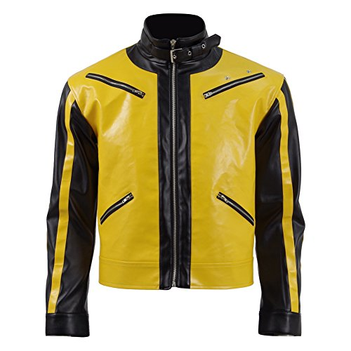 BJ Blazkowicz Kostüm Cosplay Gelb T-Shirt Leder Fliegerjacke für Männe (Mehrfarbig, Customize)