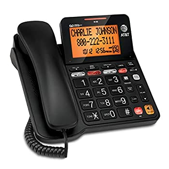 AT&T CD4930 Corded Phone with Digital Answering System and Caller ID Extra-Large Tilt Display & Buttons Black