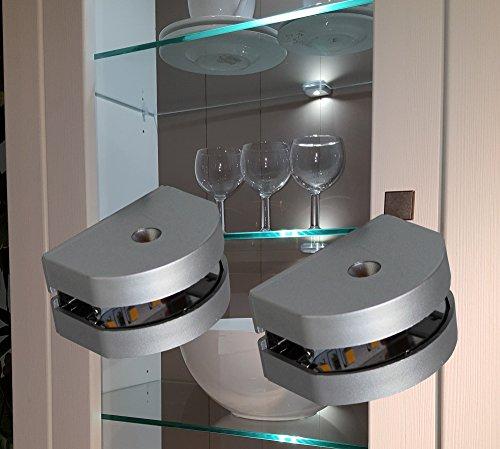 Preisvergleich Produktbild LED 3-Seiten Glasbodenbeleuchtung Glaskantenbeleuchtung 2-er Set mit Möbeltrafo warm weiß / Art. 2295-2 / 4189-6W / LED Möbelbeleuchtung Schrankleuchten