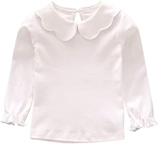Baby Girl Kids Blouses Long Sleeves Solid Color Doll Collar T-Shirt Top Bottom