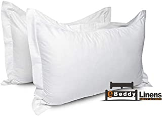 Pillow sham Set of 2 White Solid 800 Thread Count Envelope Closure Pillow Cover | Long Staple - Sateen Weave Silky Soft Natural Cotton | breathable & Smooth Feel (Standard 20'' x 26'', White)