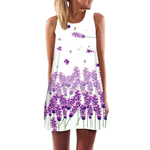TUDUZ Damen Sommer Vintage Boho Ärmelloses Sommerstrand Gedruckt Kurzes Minikleid Blumenkleid T-Shirt Tops Kleider-Faschingskostüme (Lila -A, M)