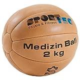 Sport-Tec Medizinball Fitnessball Gewichtsball Rehaball aus Echtem Leder 23 cm, 2 kg