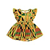 JEELLIGULAR Baby Girls Summer Clothes Ruffle African Baby Dress Dashiki Ankara A-line Floral Dress Clothing Summer (18-24 Months, African Pattern 1)