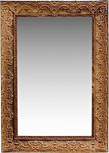 Espejo de Pared de Madera Natural, 37 x 26 cm, diseño Barroco, Color Blanco, Hecho a Mano, Marco Vintage, decoración para el Pasillo