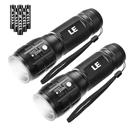 LE LED Taschenlampe, Wasserdicht Taschenlampen LE1000 für Outdoor Sports, Tragbarer Zoombar Superhelle LED Flashlight, Extrem Hell Taschenlampe für Camping, Wandern (Batterie Inklusive) (2 Pack)